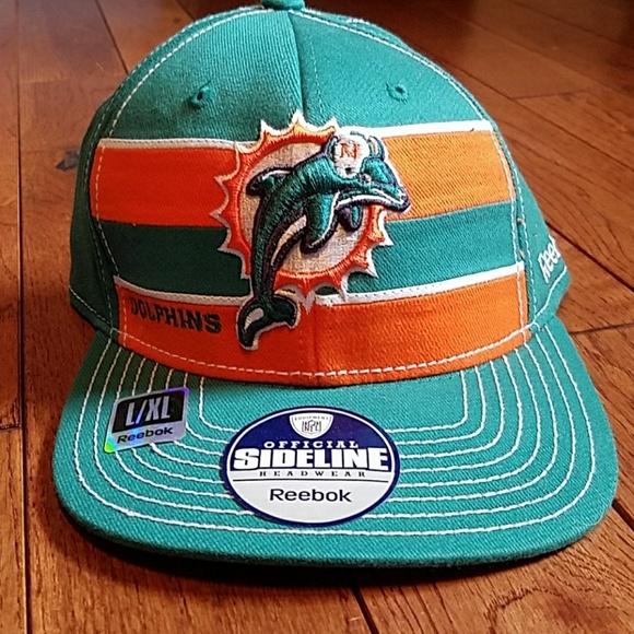 Miami dolphins new flex Reebok sideline hat L xl 5156b9bc82c